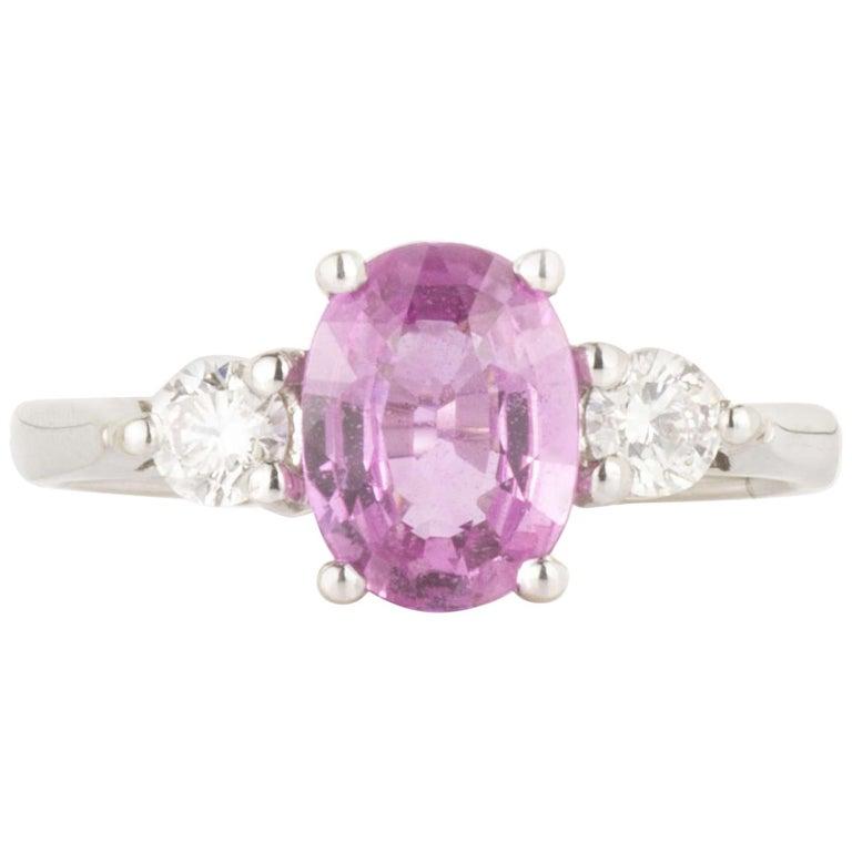 Three-Stone Pink Sapphire and Diamond Ring