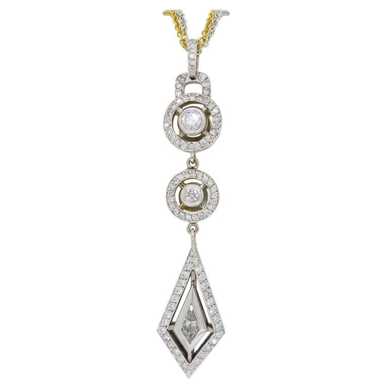 0de2360e2b138 Two-Tone Diamond Drop Necklace with Mix Cut Diamonds
