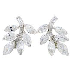 Vintage 12 Carat Diamond Cluster Clip on Earrings