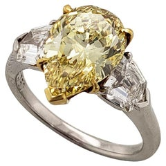 Scarselli 3 Carat Fancy Intense Yellow Pear Shape VVS1 GIA Platinum Ring