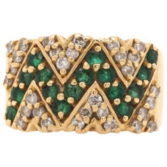 14 Karat Yellow Gold Diamond Emerald Estate Band Ring