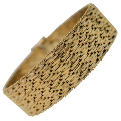18K Yellow Gold 1950's Retro Style Cuff Bracelet