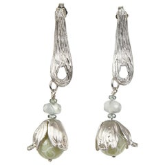 White Orchid Studio earrings carved jade Ceylon moonstone and champagne zircon