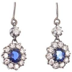 Victorian Sapphire Diamond Gold Silver Cluster Drop Earrings