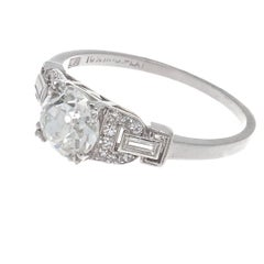Art Deco GIA 1.08 Carat Old European Cut Diamond Platinum Engagement Ring