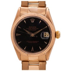 Rolex Midsize Datejust Ref 6627 18 Karat Rose Gold, circa 1968