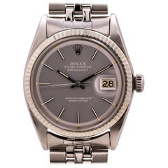 Rolex Datejust Ref 1601 Stainless Steel and 14 Karat Gray Pie Pan Dial