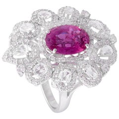 Set in 18 Karat Gold, Natural Pink Sapphire and Rose Cut Diamonds Cocktail Ring