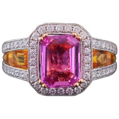 Set in 18 Karat White Gold, GRS Certified Pink and Yellow Sapphire 3-Stone Ring