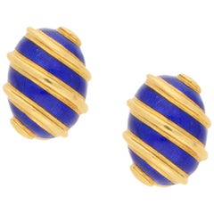 Tiffany & Co. 18 Karat Gold and Blue Enamel Clip Earrings