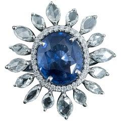 Set in 18 Karat Gold, Ceylon Blue Sapphire and Rose Cut Diamonds Cocktail Ring