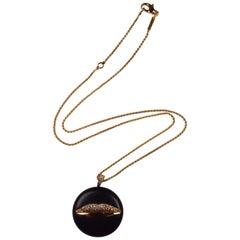 G. Bulgari Enigma Diamond, Gold and Jet Lips Necklace