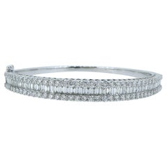 4.51 Carat Diamond Bangle, 2.17ct Baguette Cut, 2.34ct Brilliant Cut, White Gold