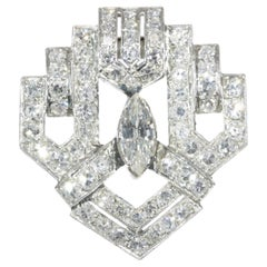 Stunning Art Deco 3.05 Carat Diamond Platinum Clip Brooch, 1930s