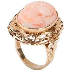 Coral Cameo Ring in 14 Carat Gold, circa 1900