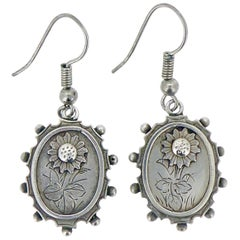 Antique Victorian Silver Earrings, Chinoiserie Pattern, Oval Drop, circa 1890s