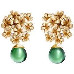 18 Karat Yellow Gold Plum Flowers Earrings with 0.3 Carat Diamonds by the Artist