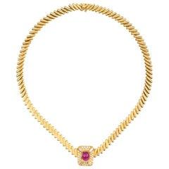 Heavy Estate 18 Karat Gold VS Diamond Ruby Heavy Pendant Necklace Collar