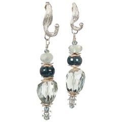 White Orchid Studio Drop Earrings Prasiolite Kyanite Moonstone Apatite Silver
