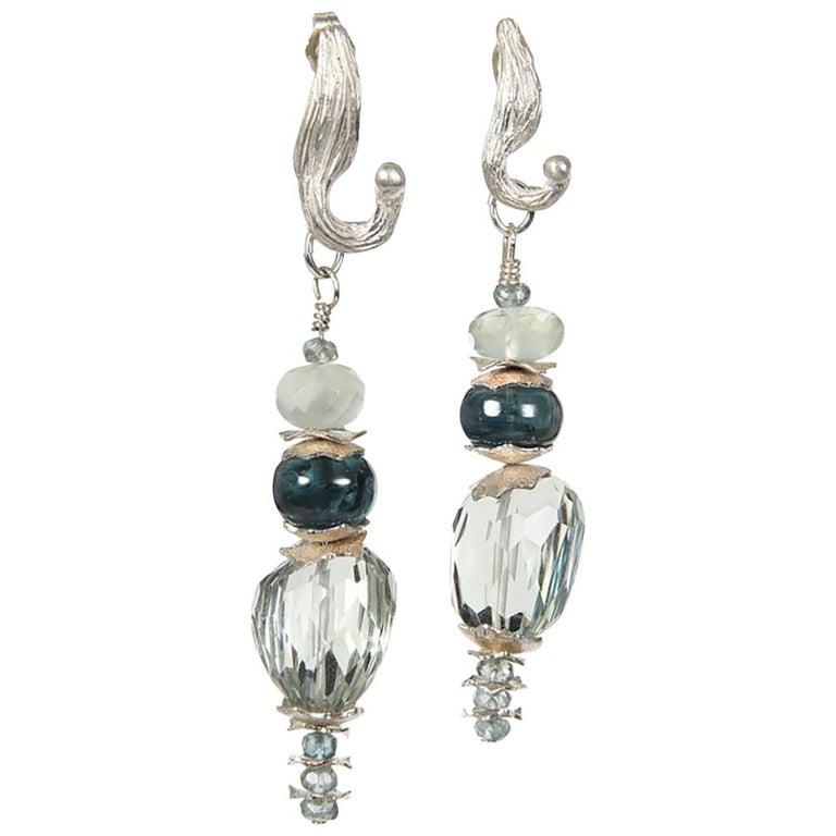 White Orchid Studio Drop Earrings Prasiolite Kyanite Moonstone Apatite Silver For Sale