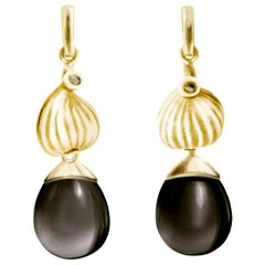 18 Karat Yellow Gold Fig Cocktail Earrings with Smoky Quartzes by the Artist