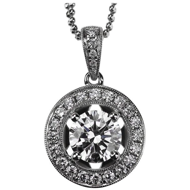 GIA Certified Solitaire 1.50 ct F VS2 Round Brilliant Cut Diamond halo Pendant  For Sale