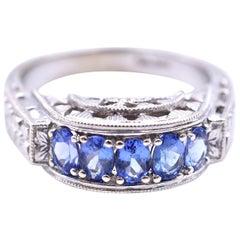Vintage '1920-1935' 14 Karat White Gold Blue Sapphire Ring