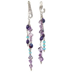White Orchid Studio silver chandelier earrings of turquoise and amethyst