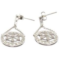14 Karat White Gold 0.40 Carat Diamond Circle Dangling Earrings