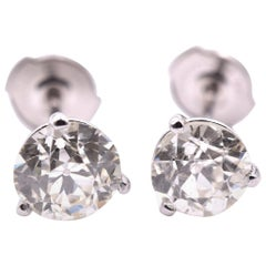 14 Karat White Gold Martini Set Diamond Stud Earrings
