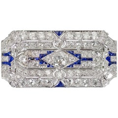 Antique Platinum Diamond Pendant and/or Brooch 7 Carat with Blue Spinel Stones