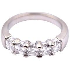 18 Karat White Gold Asscher Cut Diamond Band