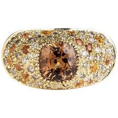 Malaya Garnet Spessatite Garnet Sapphire Diamond Cocktail Ring