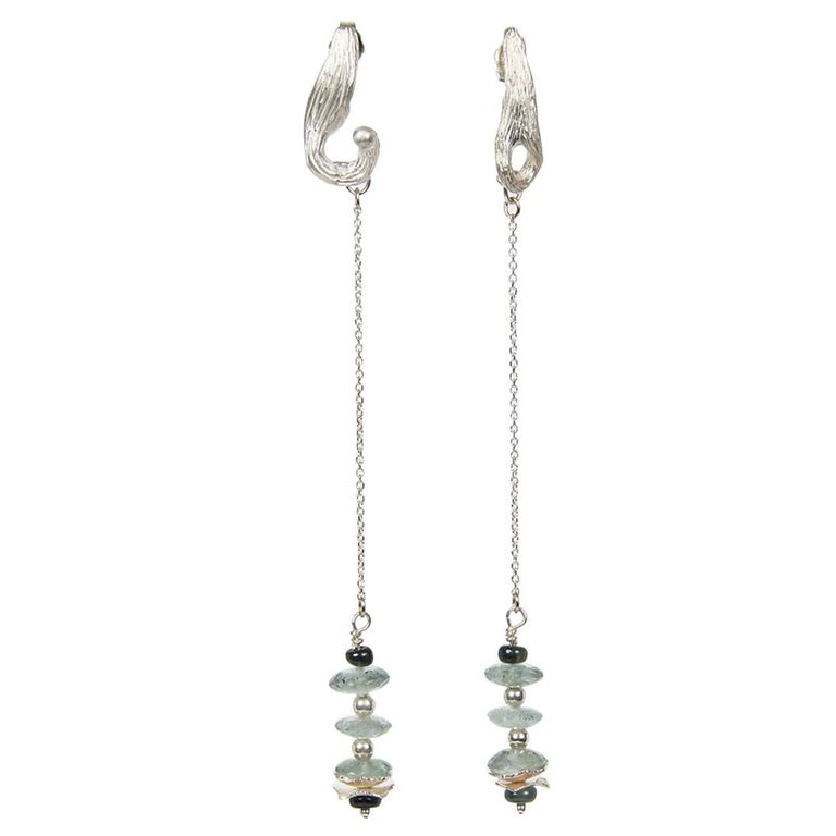 White Orchid Studio Drop Earrings Moss Aqua Sapphires Silver For Sale