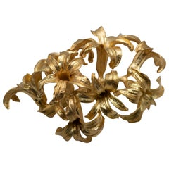 Solid Yellow Gold Women's Flower Design Brooch