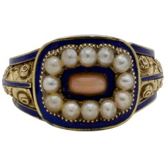 Edwardian Pearl, Coral and Blue Enamel Ring in Yellow Gold