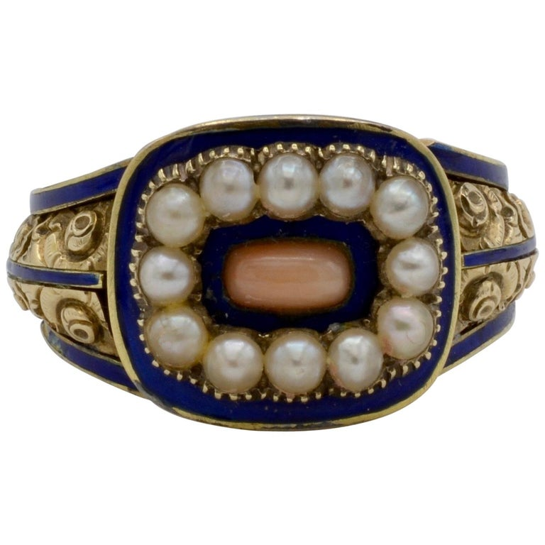 Edwardian Pearl, Coral and Blue Enamel Ring in Yellow Gold For Sale