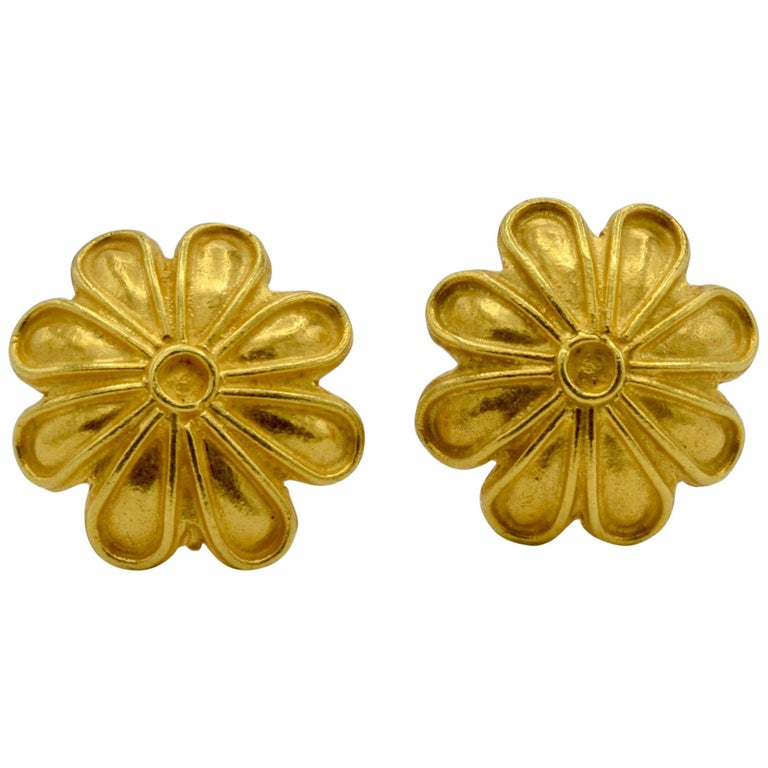 High Carat Yellow Gold Flower Post Earrings, a Museum Reproduction For Sale