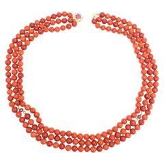 Sardinian Coral Triple Strand Bead Necklace, 14 Karat Gold Ruby Diamond Clasp
