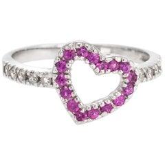 Vintage Heart Ring Ruby Diamond 14 Karat White Gold Estate Fine Jewelry Love