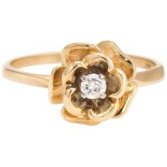 Vintage Diamond Ring Rose Flower 14 Karat Gold Estate Fine Jewelry Stacking