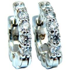 .36 Carat Natural Diamond Hoop Earrings 14 Karat Petite Girl's Prime