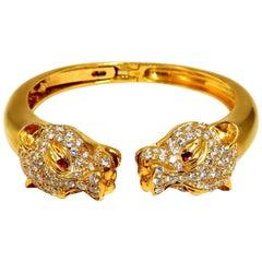 Panther Reflect Bangle Endless 6.00 Carat Natural Diamonds Bracelet 18 Karat