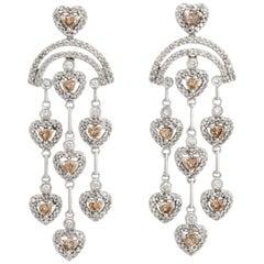 Estate Heart Chandelier Colored Diamond Earrings 14 Karat Gold Fine Jewelry