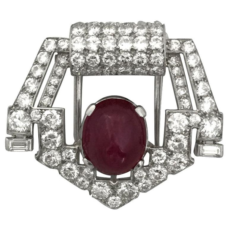 Platinum brooch set with Diamonds and a Ruby by Cartier