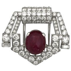 Art Deco Cartier Platinum Brooch, Set with Diamonds and a Ruby