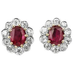 SSEF Certified Natural Burma, Myanmar Ruby and Diamonds Cluster Earrings, Retro