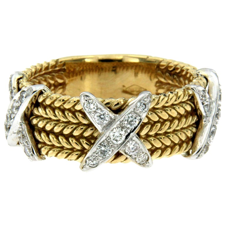 Rope Design Diamond Gold Band Ring For Sale