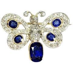 Platinum and 18 Karat Sapphire Butterfly Brooch