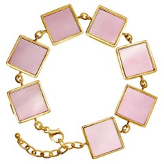 18 Karat Yellow Gold Ink Bracelet with Rose Quartz by the Artist